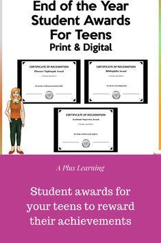 Digital Certificate, Student Awards, High School Students, Teaching Resources, Work Hard, Teacher, Teen, Learning, Professor