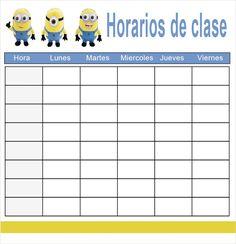 Horarios de clase Los Minions