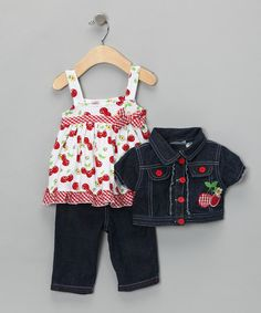 Take a look at this Denim Cherry Jacket Set - Toddler & Girls by Young Hearts on #zulily today!