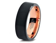 Black Tungsten Ring Rose Gold Wedding Band Ring by GiftFlavors