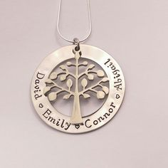Personalised family tree necklace hand stamped - present for mum mom - personalized present for her - family name necklace, mothers day gift by EmsStampedJewellery on Etsy