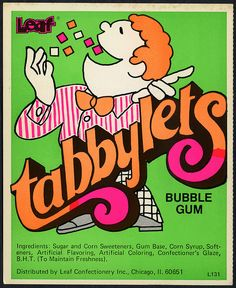70's. Candy Machine Vending Insert Card - Leaf Tabbylets bubble gum.
