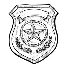 Police or security badge sketch. Doodle style police or firefighters badge vecto , Nick Jr Coloring Pages, Cross Coloring Page, Paw Patrol Coloring Pages, Adult Coloring Book Pages, Detective, Doodle On Photo, Security Badge, Fire Badge, Police Hat