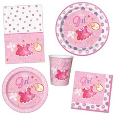 Pink Girl's CUTE CLOTHESLINE Baby Shower Party Plates Napkins Tableware Listing #Unique #BabyShower