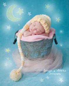 Lexi – Newborn » Super sweet newborn photography, sleeping newborn with stars and moon, newborn girl, posed newborn portraits, Tanya Downs Photography