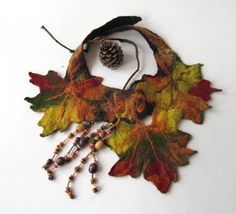 This leafy felted necklace/collar has deep fall colors. Fall leaf Felted necklace - Autumn maple leaves fall green orange brown
