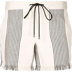 Derek Lam frayed drawstring shorts ($1,110) ❤ liked on Polyvore featuring shorts, white, derek lam shorts, draw string shorts, white shorts, drawstring shorts and frayed shorts