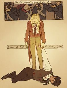 Enjolras and Grantaire: their deaths in the brick (they even got the number of shots that Enjolras takes right)