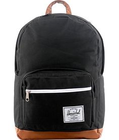 "With your #2 pencil in hand you can be fuly prepared with the Pop Quiz backpack by Herschel in black. This Herschel backpack has pockets galore with a front zipper pocket, organizer pocket, a fleece lined compartment for your shades, and a 15"" laptop slee"