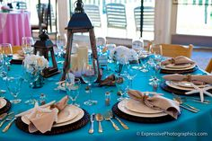 Ocean Theme décor. Love those wicker chargers. Décor by M&M Party Rentals. Photography by Expressive Photographics.