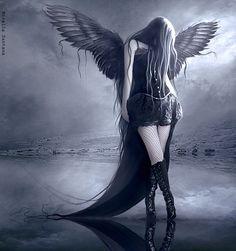 60 Inspirational Digital Art by Mirella Santana Part - Santana Digital ArtistShe make art for love.Transforming dreams into arts that reflect some concept, feeling, passion. Dark Gothic Art, Gothic Fantasy Art, Gothic Artwork, Angel Artwork, Gothic Angel, Gothic Fairy, Dark Wings, Beautiful Dark Art, Ange Demon