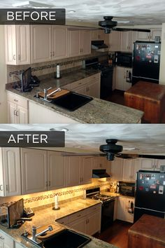 Let there be under cabinet light pinterest kitchens cabinet before and after adding under cabinet lighting to a kitchen aloadofball Images