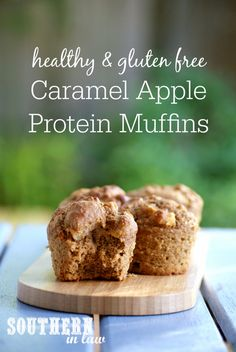 These Healthy Caramel Apple Protein Muffins are seriously delicious; filled with juicy bursts of apple and caramel like dates and made with just the right amount of cinnamon spice. These soft and fluffy muffins are low fat, gluten free, refined sugar free, clean eating friendly, high protein and can be frozen for a quick and easy snack or dessert!
