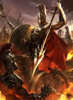 422 by Ren yingshi Fantasy Male, Fantasy Warrior, Dark Fantasy Art, Fantasy Artwork, Spartan Battle, Spartan Warrior, Fantasy Character Design, Character Art, Arte Assassins Creed