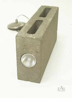Concrete block Pendant light by ZALcreations on Etsy