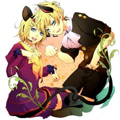 Tags: Fanart, Vocaloid, Kagamine Rin, Kagamine Len, Pixiv, Kagamine Mirrors, Trick and Treat (Vocaloid), Domco, PNG Conversion, Fanart From Pixiv