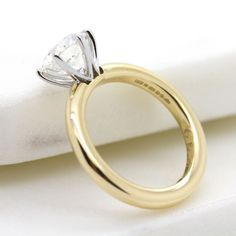 #Yellow gold and #platinum #solitaire engagement ring