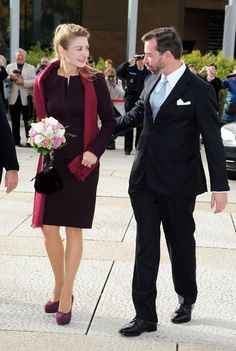 Countess Stephanie de Lannoy stepped out in public for her last outing as a single girl.     The bride-to-be arrived with her future husband Prince Guillaume at a reception held in their honour at Luxembourg's Grand Theatre.