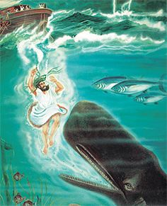 In the story sometimes called 'Jonah and the whale,' why does a big fish swallow Jonah, then vomit him back out? Spiritual Pictures, Religious Pictures, Bible Pictures, Religious Art, Bible Verse Art, Bible Scriptures, Jonah Bible, Jonah And The Whale, Spiritual Paintings