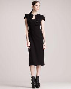 Alexander McQueen Trompe l'Oeil Bolero Dress, Black - Neiman Marcus