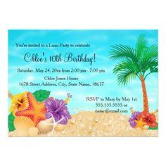Luau Birthday Party Invitations Starfish Flower Luau Birthday Party Invite