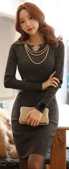 StyleOnme_Pearl and Beading Detail Long Sleeve Dress #grey #beading #pearl #elegant #dress #formal #feminine #koreanfashion #fall #winter #kstyle #kfashion #seoul