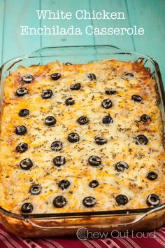 White Chicken Enchilada Casserole - Perfect weeknight dinner.  Also great for potlucks.  Easy, make-ahead recipe.
