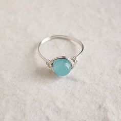 Blue Jade Ring - unique ring - cute ring - wire wrapped ring