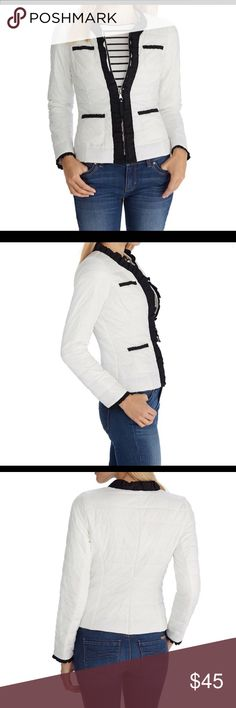 """WHBM NYLON WHITE PACKABLE PUFFER JACKET Worn once still looks new!!!! Sporty quilted jacket is elevated with femininity in contrasting grosgrain ruffles along the zip front placket, pockets and sleeve opening.  Contoured fit. Zip front closure with ruffling grosgrain trim. Four front pockets lined with ruffling grosgrain trim. Packable drawstring nylon bag included. Silvertone logo coat chain. 100% nylon.  Regular: Approximately 23"""" from shoulder at front. White House Black Market Jackets…"""