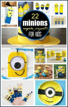 DIY minions recycle projects for creative kids include despicable me favorite character minions made with paper plates, popsicle sticks, felt, jars and more