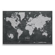 Conquest Maps World Travel Map with Pins Modern Slate Style Push Pin Travel Map Cork Board, Track Your Travels w/a Top Quality Handmade Unique Canvas Pinable Map w/Cork Inches Panel)) World Map Pin Board, World Map With Pins, Push Pin World Map, Framed World Map, World Map Poster, Travel Map Pins, Travel Maps, Travel Journals, Travel Destinations