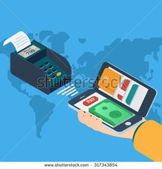 Mobile payment concept. Isometric 3d vector illustrations