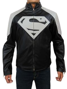 Superman Black and White Leather Jacket by EstyLeather on Etsy