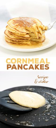 These gluten free cornmeal pancakes have a really lovely texture and enough flavor that they scarcely need much syrup or butter for serving.