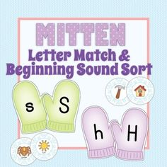 Mitten and winter phonics fun for everyone! Alphabet matching AND beginning sound activities! This easily differentiated product is perfect for p. Homeschool Preschool Curriculum, Preschool Lessons, Preschool Ideas, Teaching Ideas, Spelling Activities, Kindergarten Activities, Preschool Letter M, Abc Phonics, Letter Matching