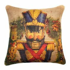 "Add a touch of festive cheer to your sofa, settee, or master bed with this charming pillow, showcasing a handsome nutcracker motif and luxuriously plush fill.Product: PillowConstruction Material: 100% BurlapFeatures: Zipper enclosureMade in the USAHandmadeDimensions: 16"" x 16""Cleaning and Care: spot clean only"