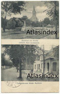 AK Glöwen Denkmal mit Kirche Colonialwaren Walter Kublank 1932   eBay
