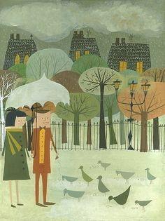 Feeding Birds. Limited edition 8.5x11 print by Matte Stephens.