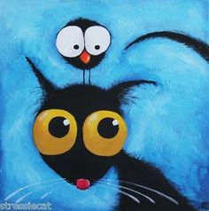 Original Acrylic Canvas Fine Art Whimsical Black Cat Stressie Cat Bird Crow | eBay