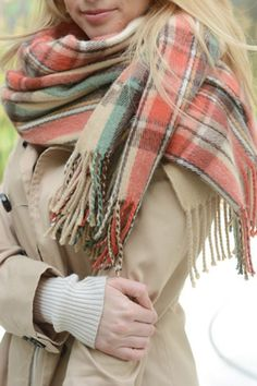 Plaid Women's Boutique Scarf with Tassels in Cream   Cali Boutique   FREE shipping to the U.S.