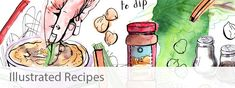 A collection of hand drawn illustrated recipes by Sophie Peanut. The illustrations are drawn in pen and watercolour and feature a range of family recipes. Watercolour Drawings, Pen And Watercolor, Cool Drawings, Watercolors, Brownies Recipe No Butter, Chocolate Drawing, Dairy Free Dark Chocolate, Easy Chicken Stir Fry, Recipe Drawing