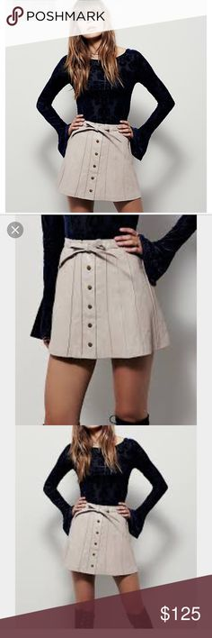 CLOSET CLOSING RESERVED FOR LILLIAN ‼️ Reduced from $168  ‼️FREE PEOPLE TAN MINI LEATHER BALLET SKIRT. Luxe  100% leather featuring pleated silhouette and snap button up front   Belted tie accent at the waist.  Flirty fit full lining.  Leather professional care only. Free People Skirts Mini