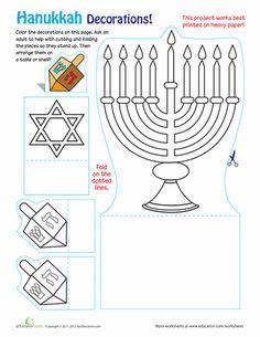 Worksheets: Hanukkah Decorations