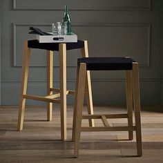 Modern Woven Shaker Bar/Counter Stool + Counter Stool from West Elm (appears to be discontinued)