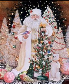 Old Fashioned Vintage Inspired Father Christmas Shabby Chic Diamond Painting Kit. Round Drills Full Drill Fast S&H by OurCraftAddictions Christmas Scenes, Noel Christmas, Victorian Christmas, Father Christmas, Vintage Christmas Cards, Santa Christmas, Christmas Pictures, All Things Christmas, Winter Christmas