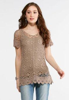 Cato Fashions Crochet Woven TopPlus #CatoFashions