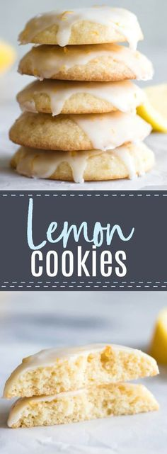 Soft and chewy Lemon Cookies. Bursting with flavor thanks to using fresh lemon juice and zest! #cookie #lemon #dessert #recipe #baking