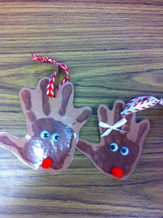 If you are in need of something quick and easy to give your kids for the holidays here are a few ideas. In the past I have given them reinde. Christmas Projects, Christmas Themes, Kids Christmas, Christmas Gifts, Christmas Ornaments, Handprints Christmas, Reindeer Handprint, Reindeer Ornaments, Handmade Ornaments