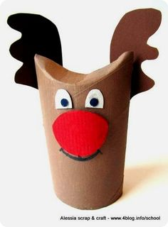 A fun reindeer craft that is super cute also Holiday Crafts For Kids, Christmas Activities, Xmas Crafts, Christmas Makes, Kids Christmas, Toilet Paper Roll Crafts, Paper Crafts, Reindeer Craft, Toddler Christmas