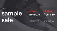 ETQ Amsterdam Sample Sale -- Amsterdam -- 15/06-17/06 All Black Sneakers, Amsterdam, The North Face, Clothes, Shoes, Outfits, Clothing, Zapatos, Shoes Outlet